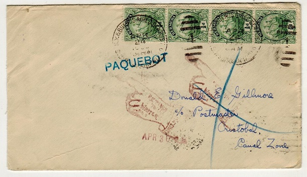 BERMUDA - 1930 (circa) 2d rate PAQUEBOT cover to Canal Zone.
