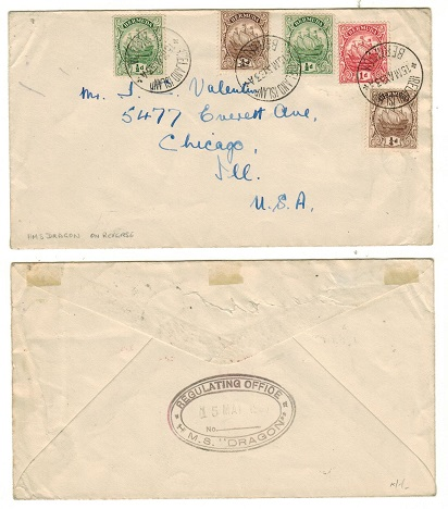 BERMUDA - 1933 2 1/2d rate cover to USA used at IRELAND ISLAND with