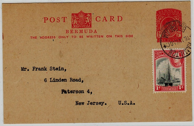BERMUDA - 1938 1d red PSC uprated to USA and used at HAMILTON.  H&G 17.