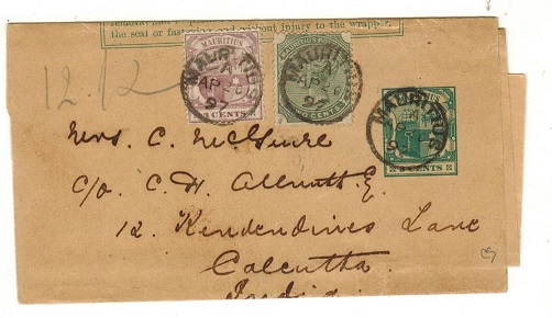 MAURITIUS - 1896 3c green postal stationery wrapper uprated to India.  H&G 1.