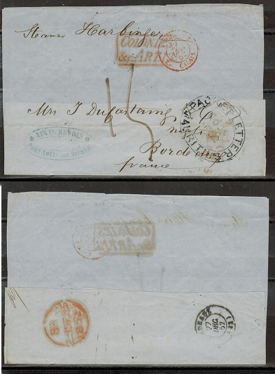 MAURITIUS - 1852 large part outer wrapper to France struck