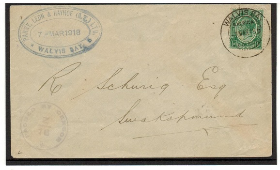 SOUTH WEST AFRICA - 1918 1/2d rate censored cover used at WALVIS BAY.