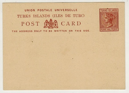 TURKS AND CAICOS IS - 1881 1 1/2d reddish brown PSC unused. H&G 1.