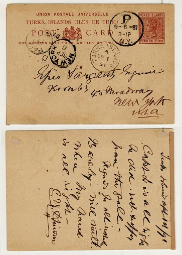 TURKS AND CAICOS IS - 1881 1 1/2d reddish brown PSC to USA used at TURKS ISLANDS.  H&G 1.