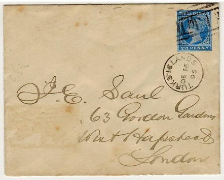 TURKS AND CAICOS IS - 1895 2 1/2d blue PSE to UK used at TURKS ISLANDS.  H&G 1.