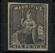 MAURITIUS - 1859 6d IMPERFORATE PLATE PROOF in black on thin ungummed paper.
