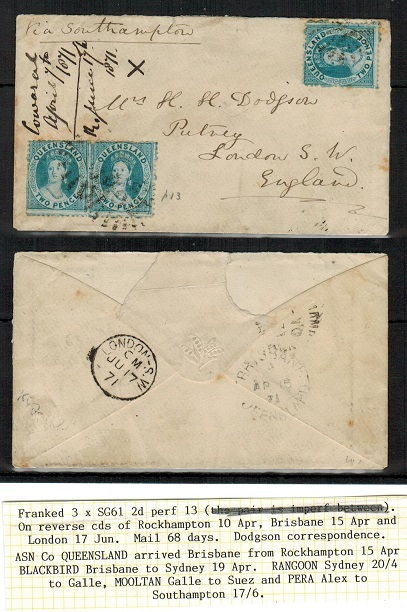 AUSTRALIA (Queensland) - 1871 6d rate cover to UK used at ROCKHAMPTON.