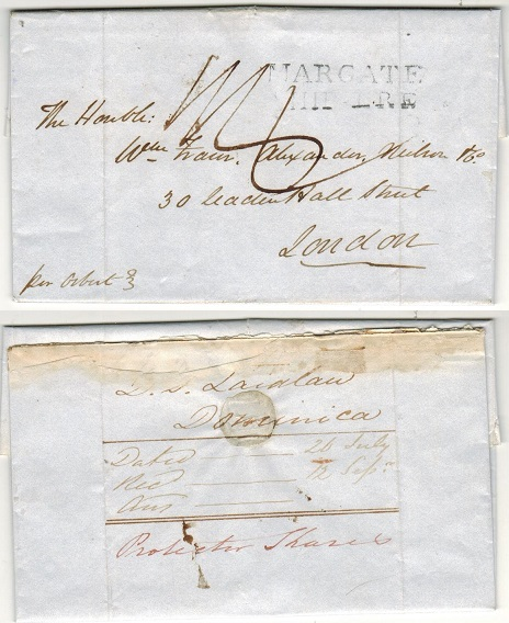 DOMINICA - 1837 entire to UK struck by MARGATE/SHIP LRE handstamp.