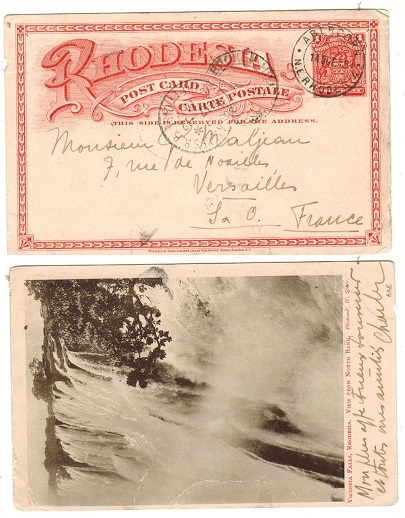 RHODESIA - 1899 1d brick red illustrated PSC to France used at ABERCORN/N.E.RHODESIA.  SG 11a.