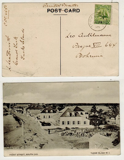 TURKS AND CAICOS IS - 1908 1/2d rate postcard use to Bohemia.