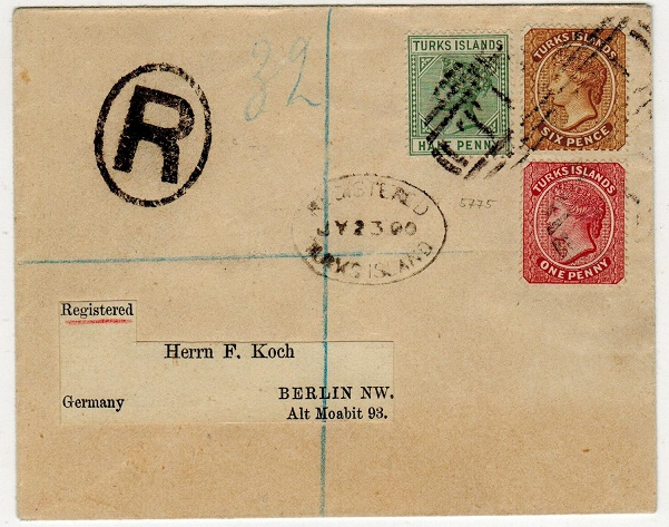TURKS AND CAICOS IS - 1900 7 1/2d rate registered cover to Germany