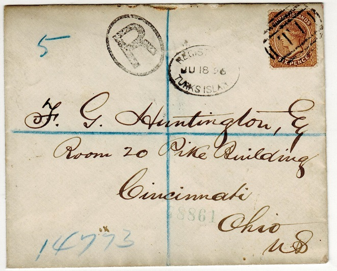 TURKS AND CAICOS IS - 1896 6d rate registered cover to USA.