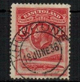 BASUTOLAND - 1933 1d scarlet (SG 2) cancelled by rare KHUKHUNE agency cancel.