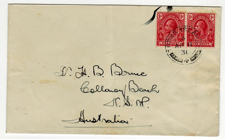 TURKS AND CAICOS IS - 1931 2d rate cover to Australia (scarce).