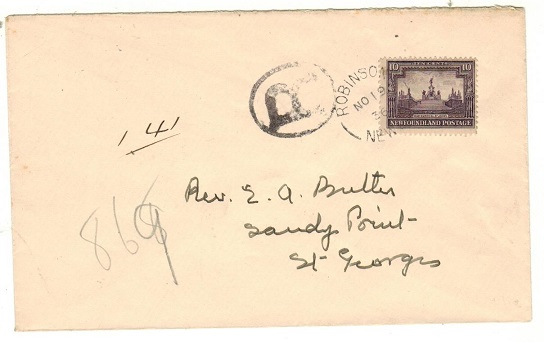 NEWFOUNDLAND - 1936 10c rate cover to Sandy Point used at ROBINSON.