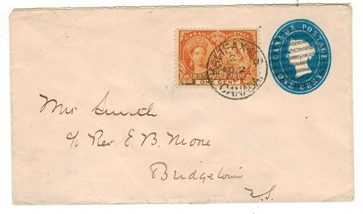 CANADA - 1900 use of 1c blue PSE uprated locally with 1c orange