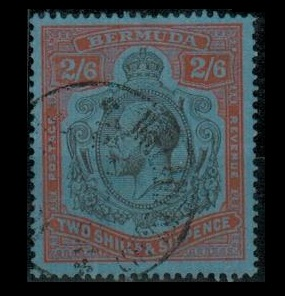 BERMUDA - 1930 2/6d grey black and pale orange vermilion used at Ireland Island.  SG 89h.