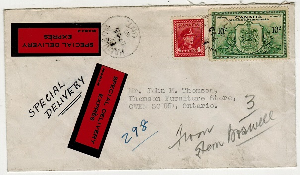 CANADA - 1948 14c rate local cover from HAMILTON with SPECIAL DELIVERY EXPRESS labels applied.