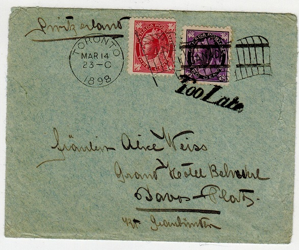 CANADA - 1898 5c rate cover to Switzerland with