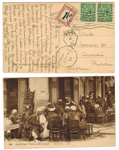 SOUTH AFRICA - 1922 inward underpaid postcard with 1 1/2d