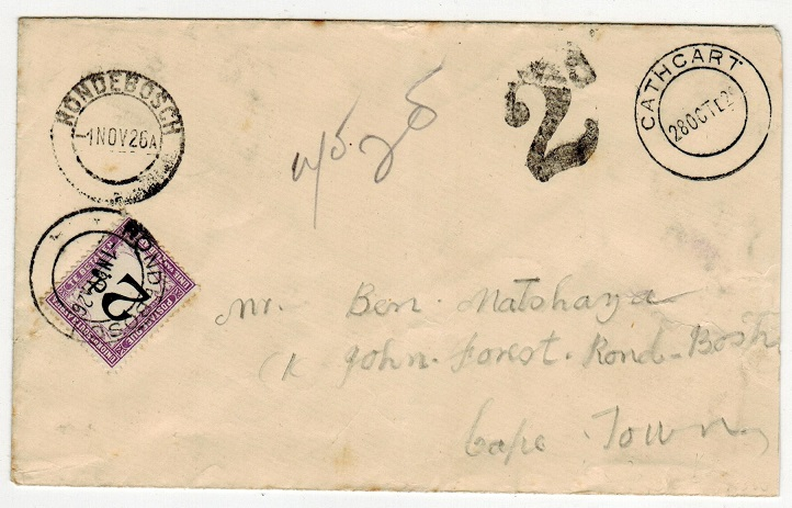 SOUTH AFRICA - 1926 unpaid cover with 2d
