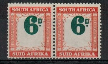 SOUTH AFRICA - 1950 6d green and bright orange
