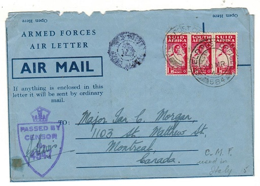 SOUTH AFRICA - 1945 3d rate use of ARMED FORCES AIR LETTER censored to Canada at FPO/584.