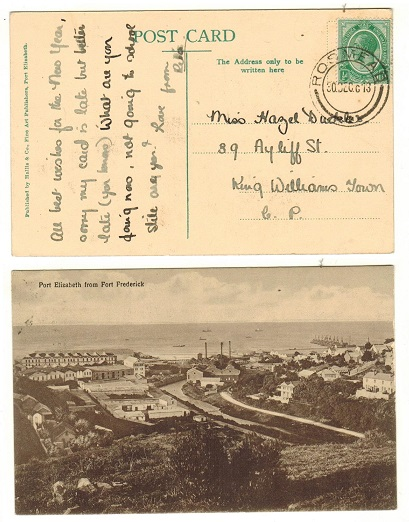 SOUTH AFRICA - 1913 1/2d rate postcard use to Cape used at ROSMEAD.