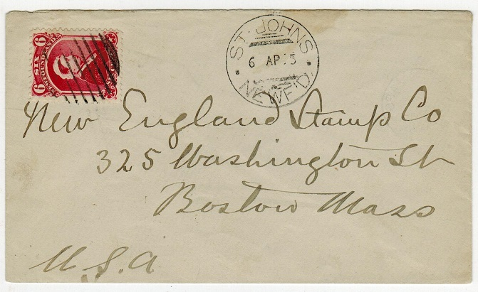NEWFOUNDLAND - 1895 6c rate cover to USA used at ST.JOHN
