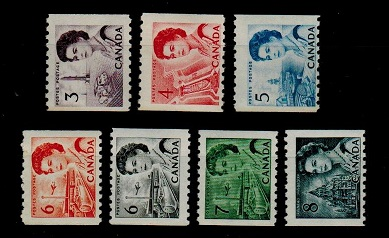 CANADA - 1967 COIL trio and 1969 COIL set of four. U/M.  SG 589-93 and 594-97.