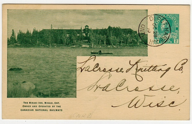 CANADA - 1912 2c green illustrated PSC used locally at DEPOT HARBOUR/ONT.  Webb CNR21.
