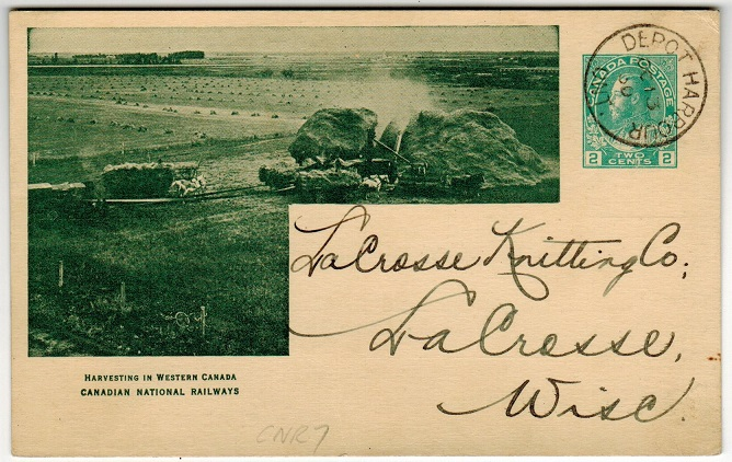 CANADA - 1912 2c green illustrated PSC used locally at DEPOT HARBOUR/ONT.  Webb CNR7.