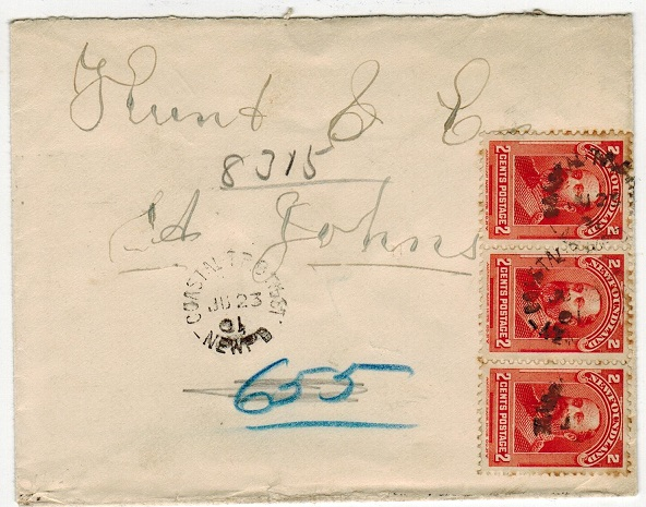 NEWFOUNDLAND - 1901 6c rate local cover used at COASTAL T.P.O./WEST/NEWF