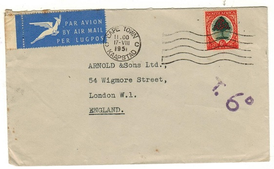 SOUTH AFRICA - 1951 6d underpaid cover to UK with
