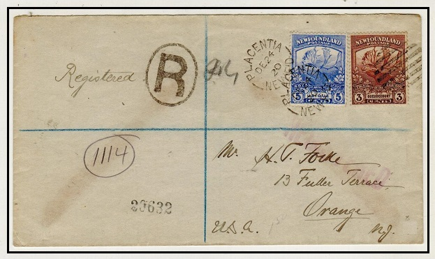 NEWFOUNDLAND - 1920 8c rate registered cover to USA used at PLACENTIA.