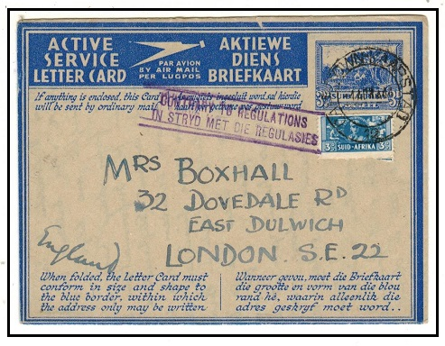 SOUTH AFRICA - 1944 use of ACTIVE SERVICE LETTER CARD to UK struck