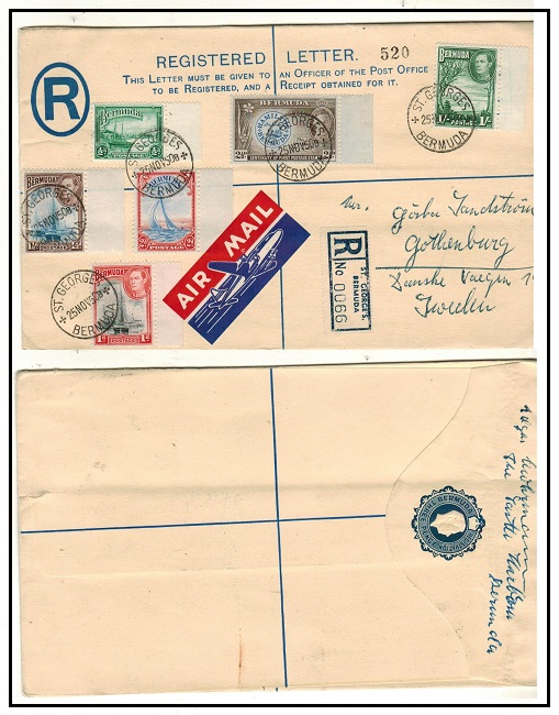 BERMUDA - 1938 3d blue RPSE to Sweden used at ST.GEORGES.  H&G 6a.