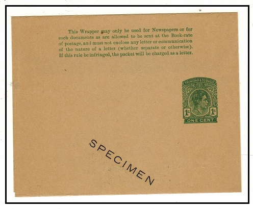 TRINIDAD AND TOBAGO - 1937 1c green postal stationery wrapper unused SPECIMEN.  H&G 4.