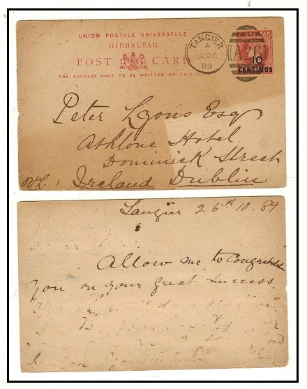 MOROCCO AGENCIES - 1889 use of Gibraltar 10c on 1d rose PSC to Ireland used at TANGIER. H&G 10.