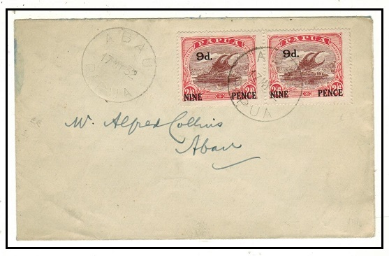 PAPUA - 1932 9d on 2/6d local cover used at ABAU.