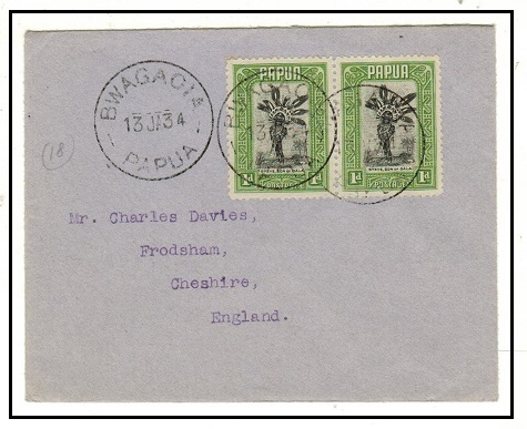 PAPUA - 1934 2d rate cover to UK used at BWAGAOIA.