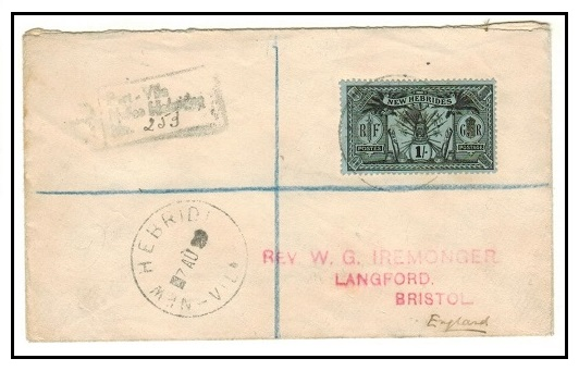 NEW HEBRIDES - 1929 1/- rate registered cover to UK used at VILA.
