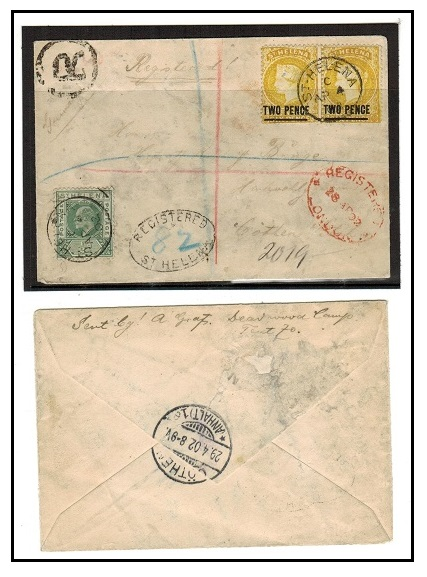 ST.HELENA - 1902 4 1/2d rate registered cover to Holland.