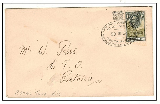 BECHUANALAND - 1934 1/- rate cover to Pretoria taken on the ROYAL TOUR train.