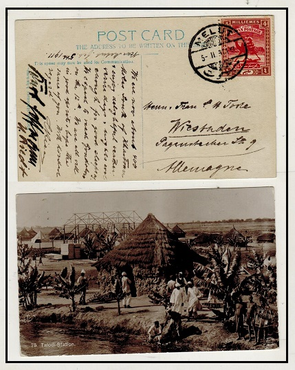 SUDAN - 1911 4m rate postcard use to Germany used at MELUT.