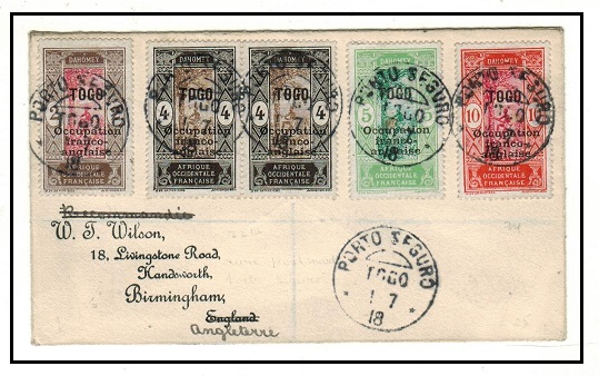 TOGO (French) - 1918 multi franked registered cover to UK used at PORTO SEGURO.