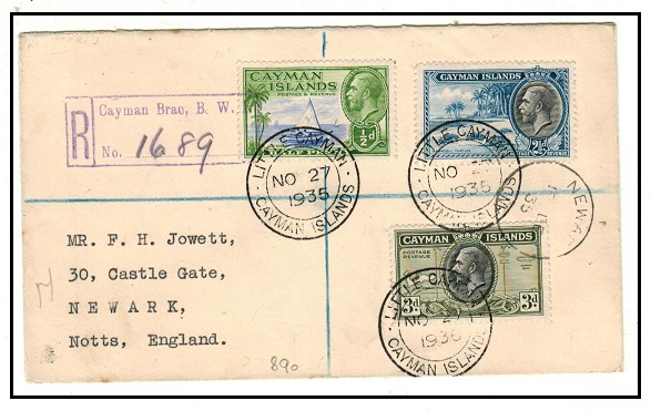 CAYMAN ISLANDS - 1935 6d rate registered cover to UK used at LITTLE CAYMAN/GRAND CAYMAN.