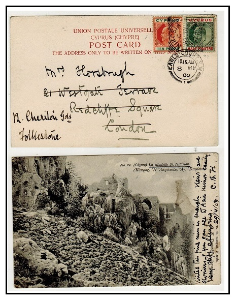 CYPRUS - 1909 10p+1/2p adhesives on postcard to UK used at NIKOSIA.