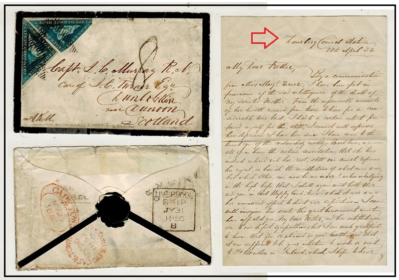CAPE OF GOOD HOPE - 1856 8d rate cover to UK from the Zuidberg Convict Station.