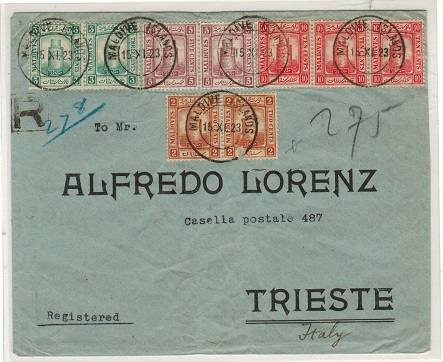 MALDIVE ISLANDS - 1923 registered multi franked cover to Italy.